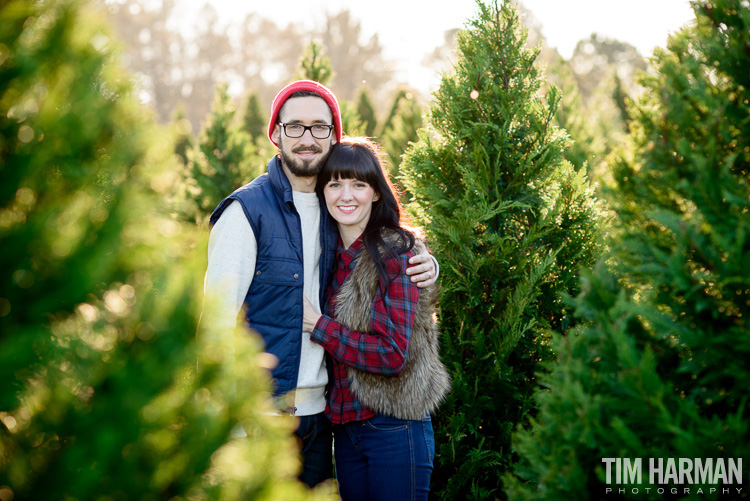 Portrait shoot at at Christmas tree farm