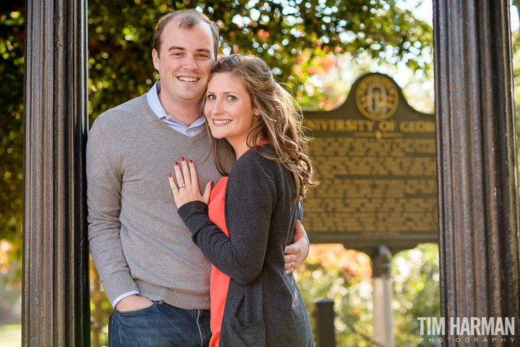north campus uga engagement shoot, athens