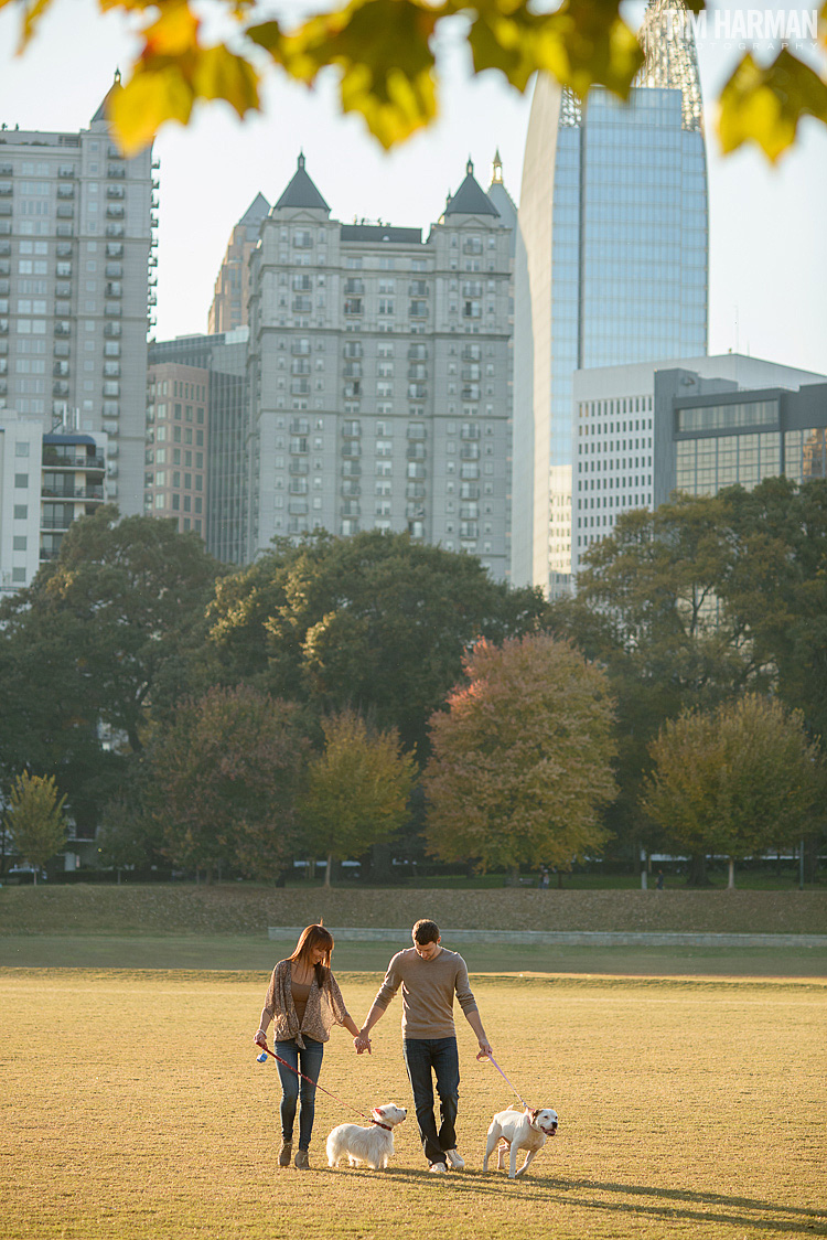 engagement shoot at Piedmont Park during the fall
